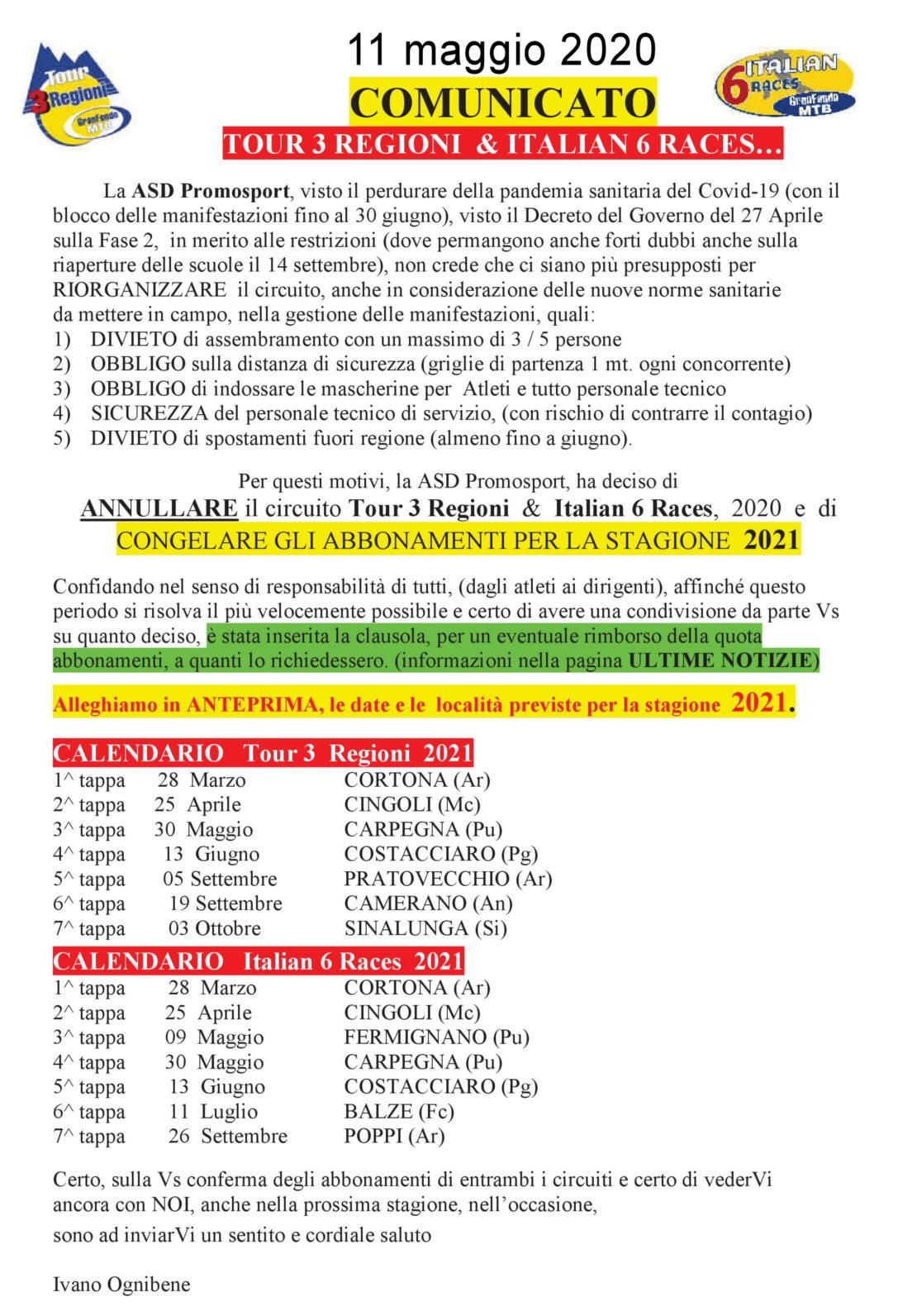 COMUNICATO ANNULLAM.DATE 3 Regioni 20200510